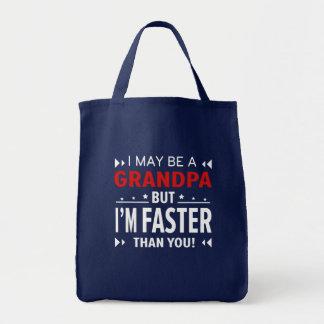 Großvater schneller als Sie laufender Großvater Tragetasche