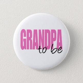 Großvater zum zu sein (rosa Block-Schriftart) Runder Button 5,7 Cm