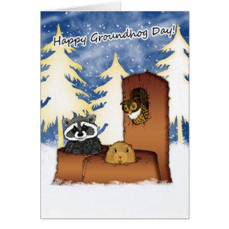 Groundhog Day-Karte - Groundog, Racoon, Eule Karte