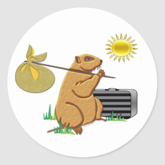 Groundhog läuft weg runder aufkleber
