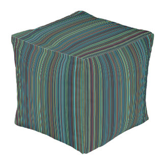 Grren Streifen-Quadratpuff blauen Taupe Retro Kubus Sitzpuff