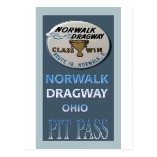 Gruben-Durchlauf Norwalks Dragway Postkarte