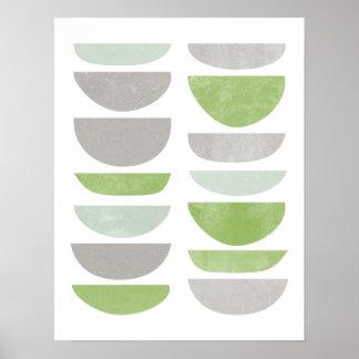Grün, abstrakter, skandinavischer Plakatdruck Poster