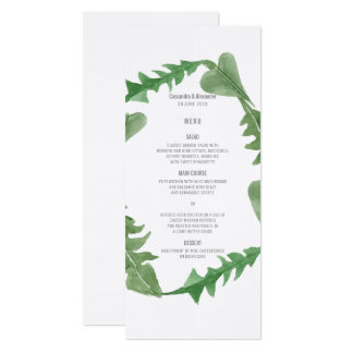 Grün-Aquarell-Laub-Hochzeits-Menü 10,2 X 23,5 Cm Einladungskarte