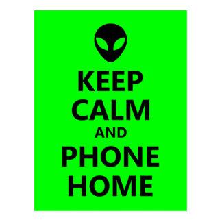 Grün behalten Ruhe und Telefon-Zuhause Postkarte