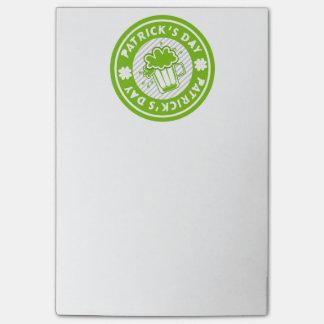 Grün-Bier-Entwurf St. Patricks Tages Post-it Klebezettel