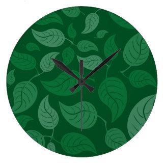 Grün-Blätter Große Wanduhr