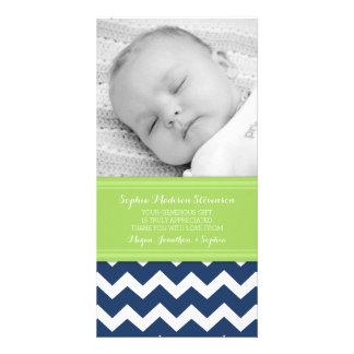 Grün-blau danke Baby-Duschen-Foto-Karten Fotokartenvorlage
