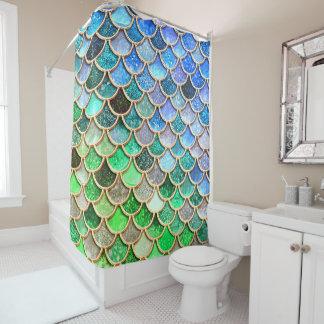 Grün-blaue glänzende Ombre Duschvorhang