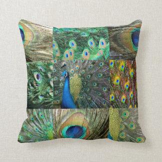 Grün-blaue Pfau-Fotocollage Kissen