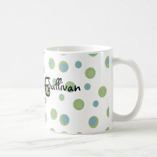 Grün-blaue Polka-Punkte mit Monogramm Kaffeetasse
