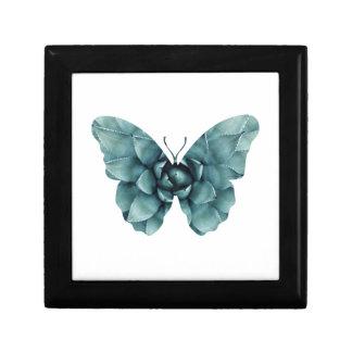 Grün-blaue saftige Schmetterlings-Silhouette Erinnerungskiste