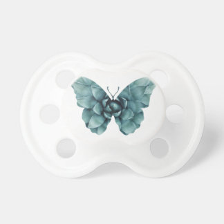 Grün-blaue saftige Schmetterlings-Silhouette Schnuller