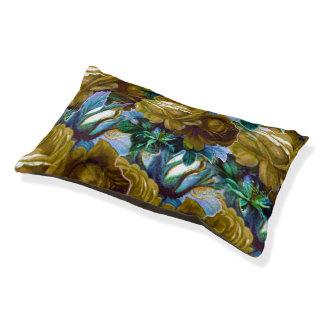 Grün-blaue Vintage Rosen Haustierbett
