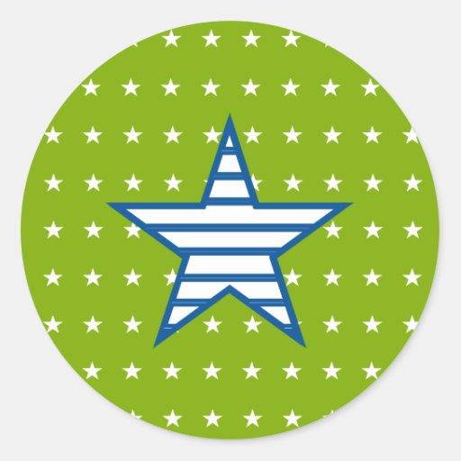 Grün-blaue Weiß-Sterne u. Streifen-Geschenke Runde Sticker