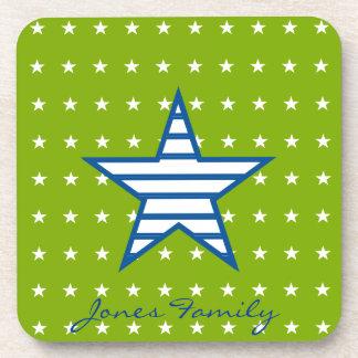 Grün-blaue Weiß-Sterne u. Streifen-Geschenke Getränke Untersetzer