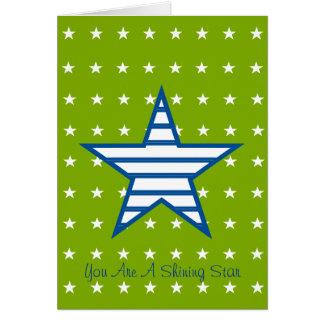 Grün-blaue Weiß-Sterne u. Streifen-Geschenke Grußkarte