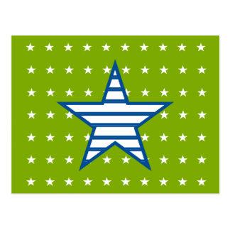 Grün-blaue Weiß-Sterne u. Streifen-Geschenke Postkarte