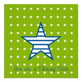 Grün-blaue Weiß-Sterne u. Streifen-Geschenke Quadratische 13,3 Cm Einladungskarte