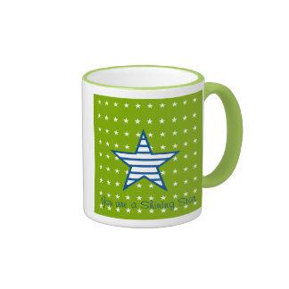 Grün-blaue Weiß-Sterne u. Streifen-Geschenke Ringer Tasse
