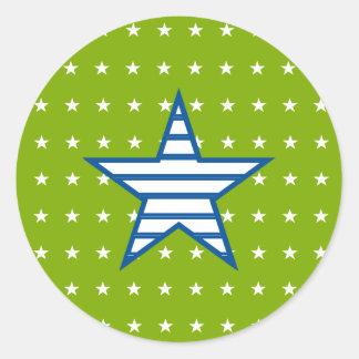 Grün-blaue Weiß-Sterne u. Streifen-Geschenke Runder Aufkleber
