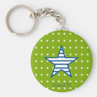 Grün-blaue Weiß-Sterne u. Streifen-Geschenke Standard Runder Schlüsselanhänger
