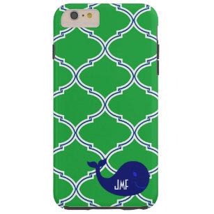 Grün-blauer Quatrefoil adretter Wal iPhone 6 Fall Tough iPhone 6 Plus Hülle