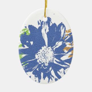 Grün-blaues orange Blumen-Motiv Keramik Ornament
