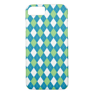 Grün-blaues und weißes Rauten-Muster iPhone 8/7 Hülle