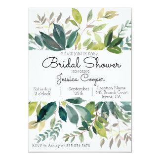 Grün-Blumenstrauß-Brautparty-Einladung 12,7 X 17,8 Cm Einladungskarte