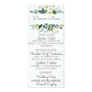 Grün-Blumenstrauß-Hochzeits-Menü-Karte 10,2 X 23,5 Cm Einladungskarte