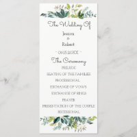 Grün-Blumenstrauß-Hochzeits-Programm