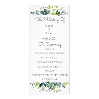 Grün-Blumenstrauß-Hochzeits-Programm Werbekarte