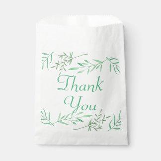 Grün danken Ihnen Aquarell-Lorbeer-Blatt-Hochzeit Geschenktütchen