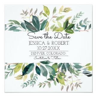 Grün, das Save the Date Karte Wedding ist Quadratische 13,3 Cm Einladungskarte