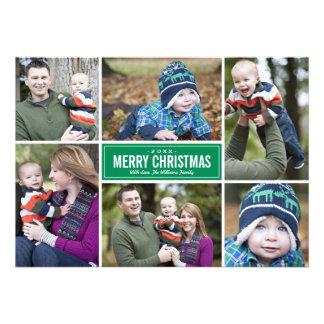 Grün der Foto-Collagen-Weihnachtsgruß-Karten- Individuelle Einladungen