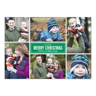 Grün der Foto-Collagen-Weihnachtsgruß-Karten-| Individuelle Einladungen