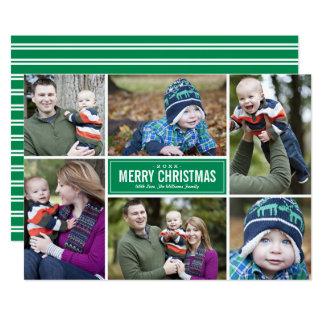 Grün der Foto-Collagen-Weihnachtsgruß-Karten-| Karte