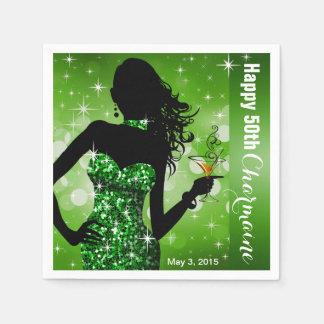 Grün des Bling Bomben-Schein-Geburtstags-Party | Serviette