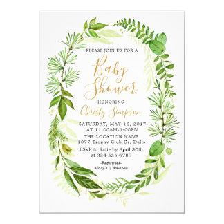 Grün-elegante Babyparty-Einladungs-Karten Karte