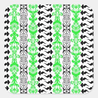 Grün Fleur Gewohnheits-1 Quadratischer Aufkleber