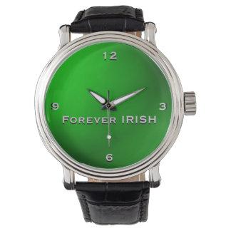 Grün-für immer IRISCHE Monogramm-Uhr Uhr