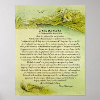 Grün gefallene Feder-Desiderata Poster