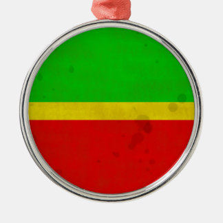 Grün, gelb und Rot mit Wasserflecken Silbernes Ornament