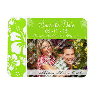 Grün-Gelber hawaiischer tropischer Hibiskus Palme Vinyl Magnete