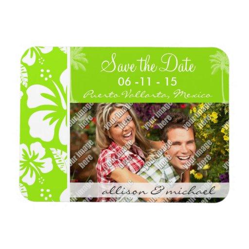 Grün-Gelber hawaiischer tropischer Hibiskus; Palme Vinyl Magnete