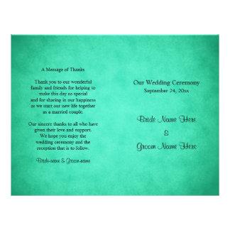 Grün gesprenkeltes Muster-Hochzeits-Programm 21,6 X 27,9 Cm Flyer
