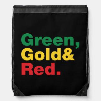 Grün, Gold u. Rot Turnbeutel