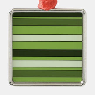 Grün-grünes horizontales Streifen-Muster elegant Quadratisches Silberfarbenes Ornament