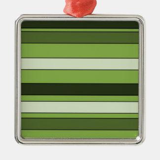 Grün-grünes horizontales Streifen-Muster elegant Silbernes Ornament